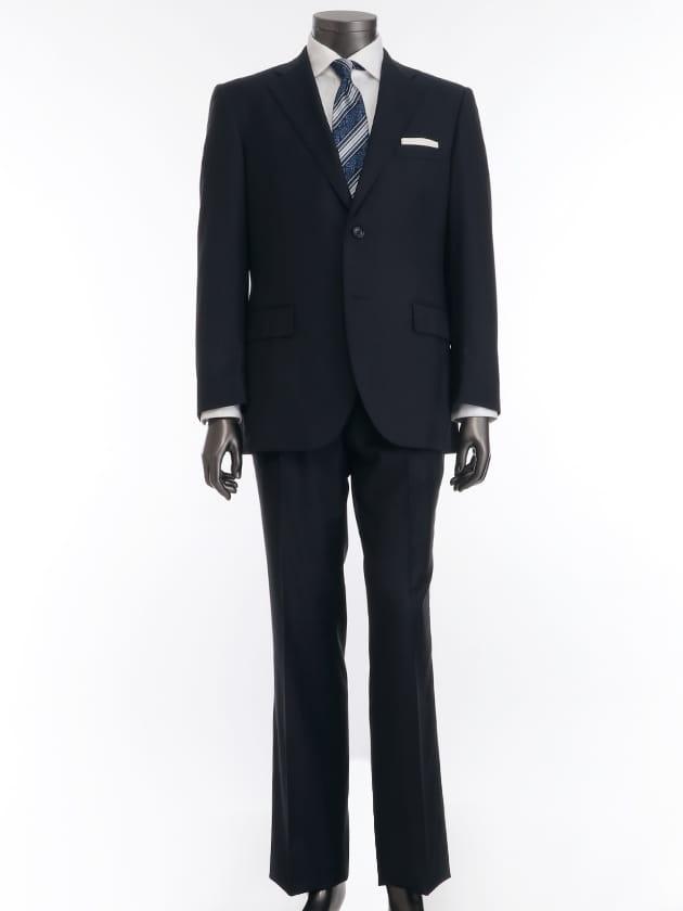 【LORO PIANA TASMANIAN生地使用】 ネイビーシャドーチェック柄 スーツ