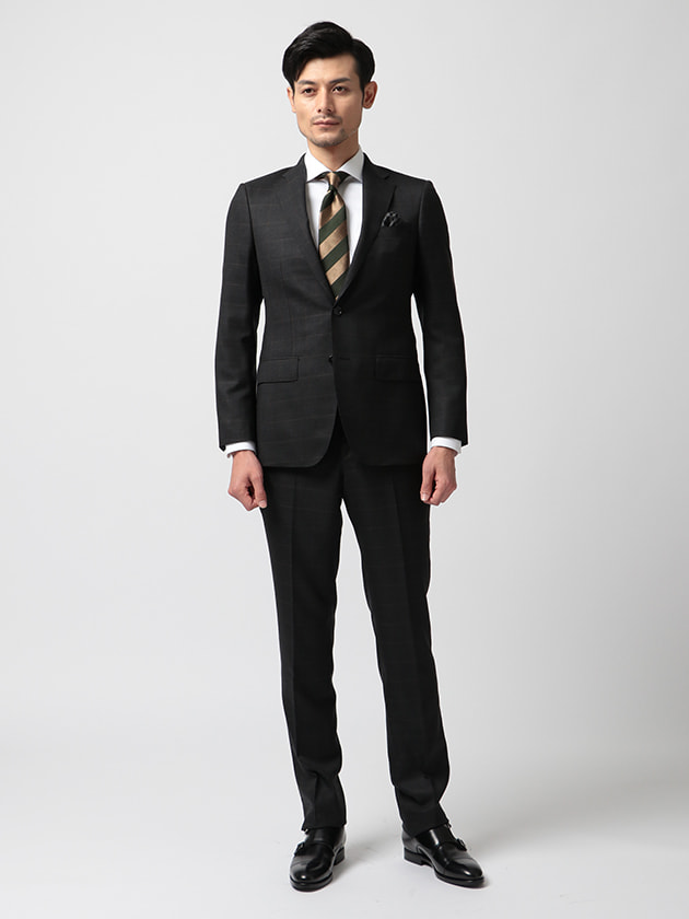 【r.a.s.o.】 グレー×ブラウン ウィンドーペン柄スーツ