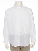 【オーパス】白ドビースナップダウンドレスシャツ