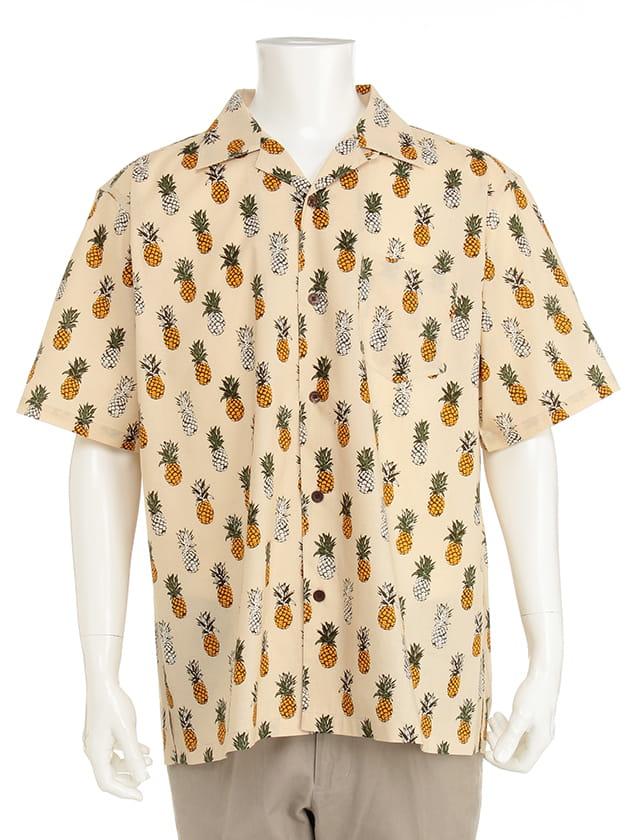 【紳士大きいサイズ】【ダーバンオーパス】パイナップル柄アロハ風シャツ