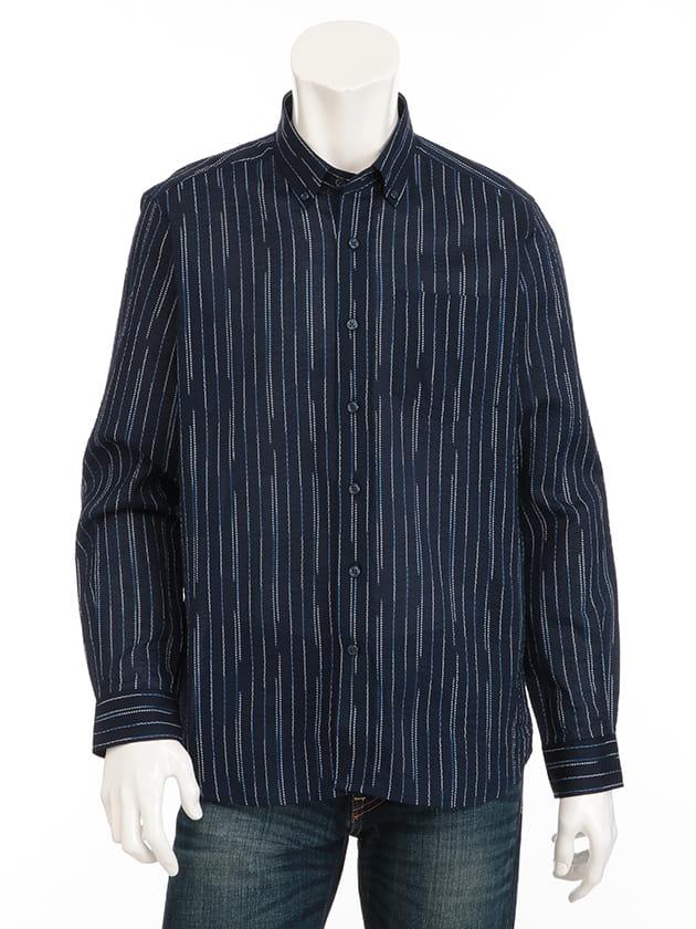 リップルプリント絣ストライプシャツ