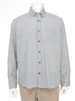 【シンプルライフ】グレーTOP ドットプリントシャツ