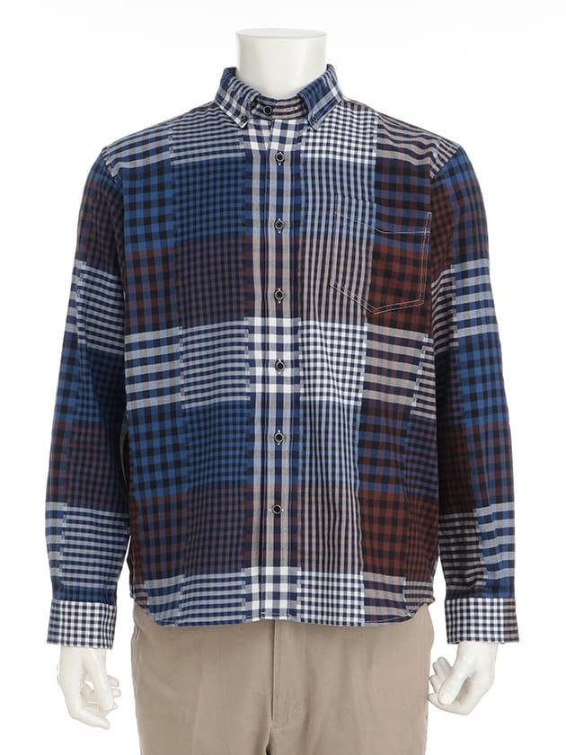 【紳士大きいサイズ】【シンプルライフ】バックカットパッチワークシャツ