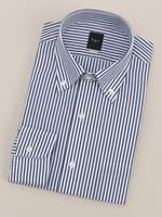【BGR Slim-fit】ボタンダウン ブルーロンドンストライプドレスシャツ