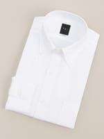 【BGR Slim-fit】ボタンダウン ホワイトドビーシンプルドレスシャツ