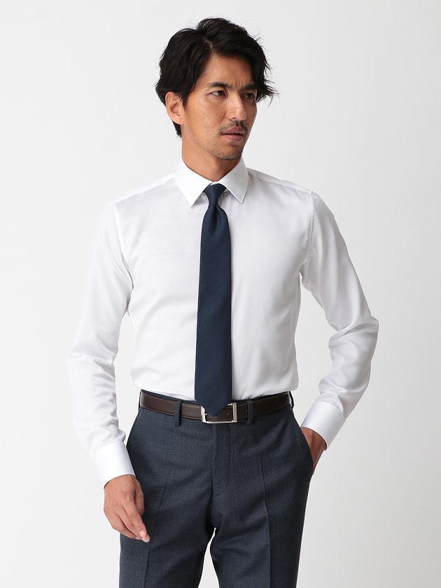 【WEB限定BGR】ショートセミワイドホワイトツイルドレスシャツ
