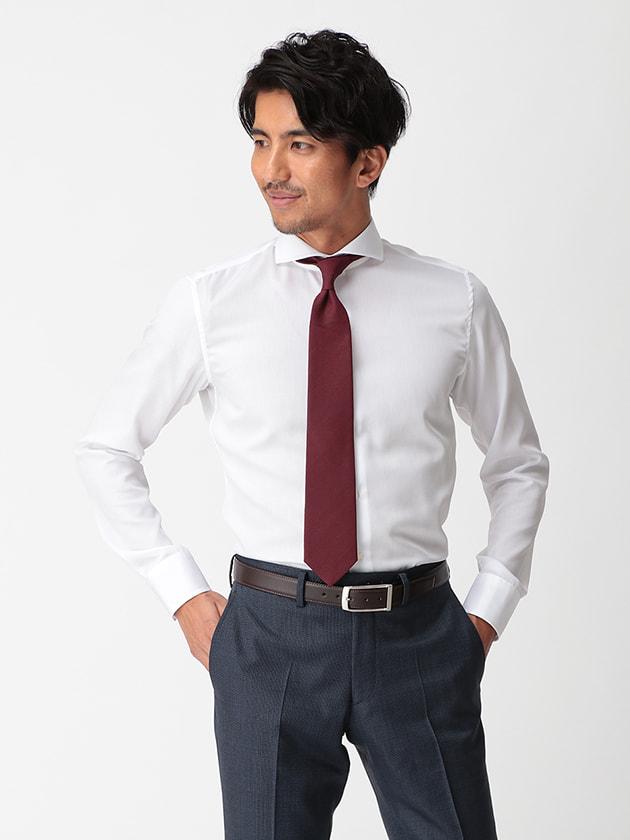 【WEB限定BGR】ホリゾンタルホワイトミニダイヤドビードレスシャツ