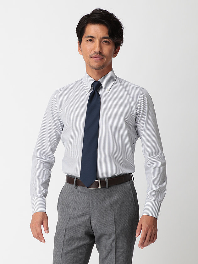 【WEB限定BGR】ボタンダウンブルーコットンスラブドレスシャツ