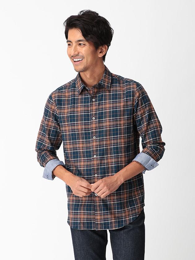 【BGR】ショートレギュラーネイビー×イエロービッグチェックシャツ