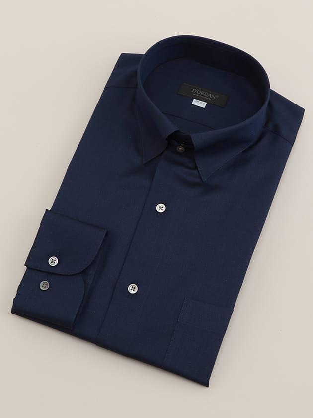 【D'URBAN BLACK】タブカラーインクブルー無地ドレスシャツ