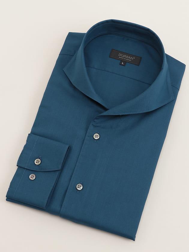 【D'URBAN BLACK】イタリアンカラーインディゴブルーツイルドレスシャツ