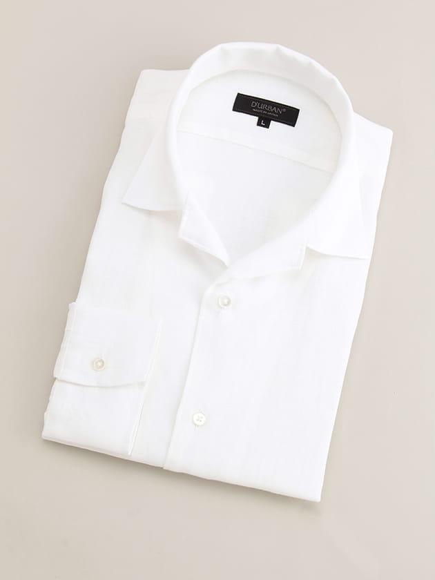 【クールビズにおすすめの長袖シャツ08】リネン100%のオープンカラーシャツです。