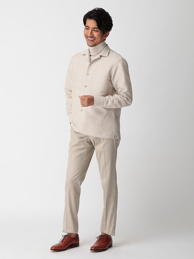 【D'URBAN BLACK】オープンカラーウールコットンツイルシャツアウター