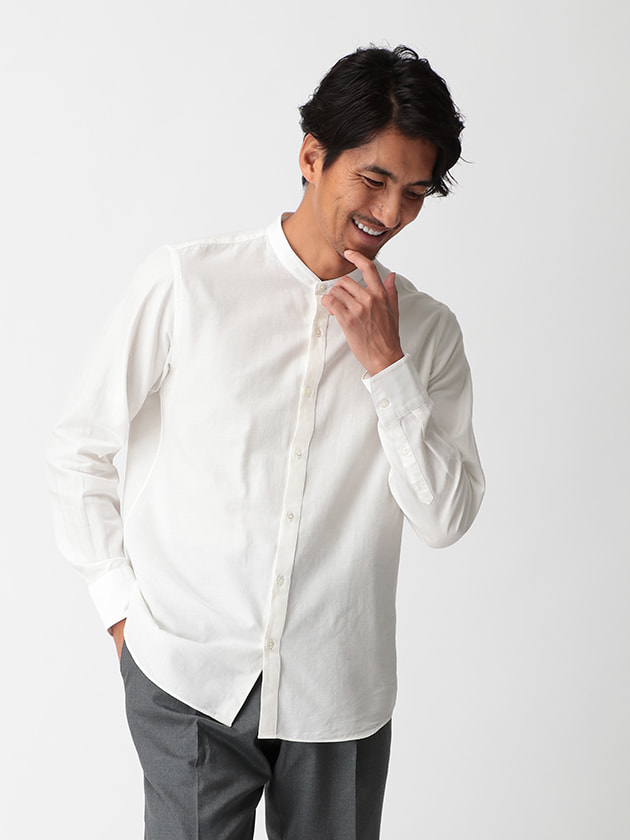 【D'URBAN BLACK】バンドカラーコットンシルクシャツ