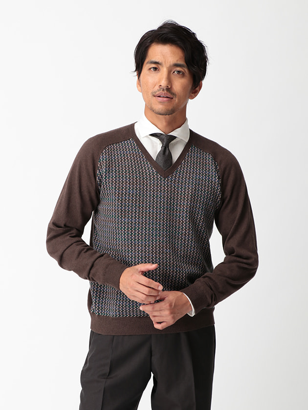 【D'URBAN BLACK】ジオメトリック柄Vネックセーター