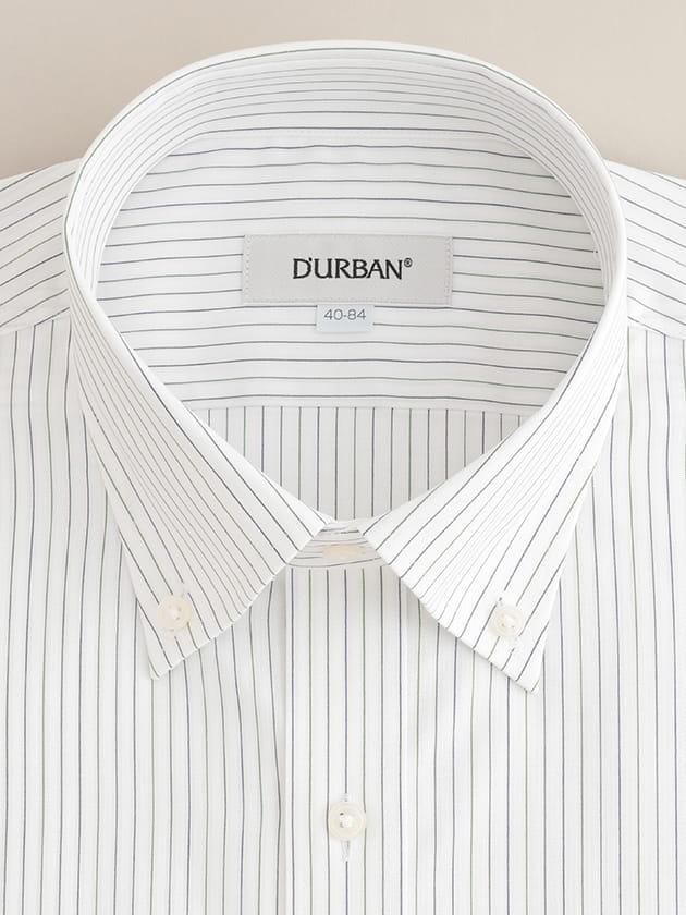 【D'URBAN WHITE】ボタンダウングリーンストライプドレスシャツ