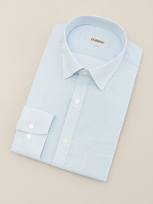 【D'URBAN WHITE】ショートスナップダウンブループリントドレスシャツ