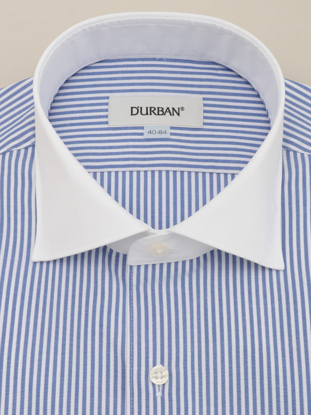 【D'URBAN WHITE】ワイドクレリックブルーロンドンストライプドレスシャツ