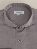 【D'URBAN WHITE】カッタウェイブラウンツイルドレスシャツ