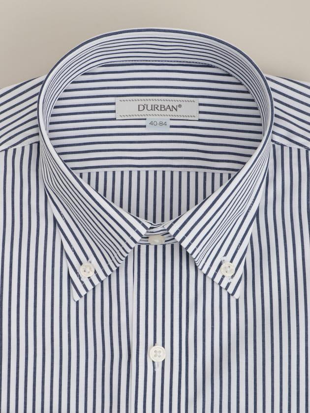 【D'URBAN WHITE】ボタンダウンブルーペンシルストライプドレスシャツ