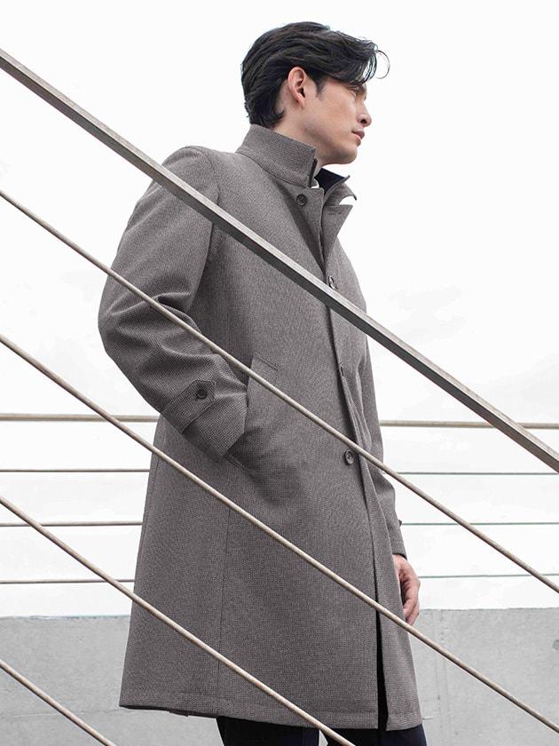 【撥水+ダウンライナー付き】小柄ロングスタンドカラーコート