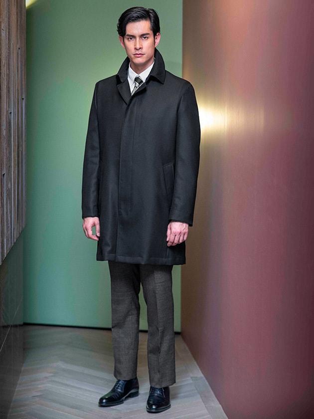 【25周年記念+SUPER140's】ブラックステンカラーコート