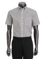 半袖ワイドグレーストライプシャツ