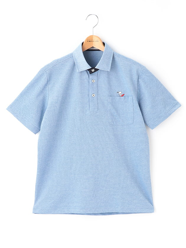 【SNOOPY】 シャンブレー半袖ポロシャツ