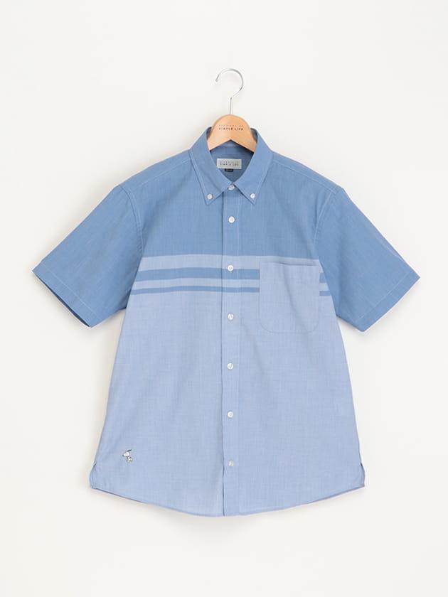 【SNOOPY】パネル切替半袖シャツ