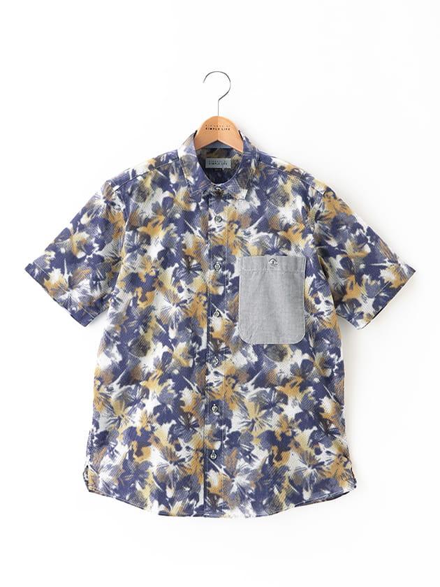 【大きいサイズ】ボタニカル柄プリント半袖シャツ