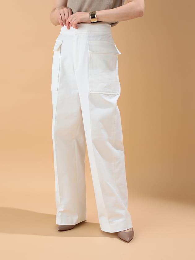 【セミワイドパンツ】超長綿カルゼ パッチポケットデザイン 家庭洗濯機対応