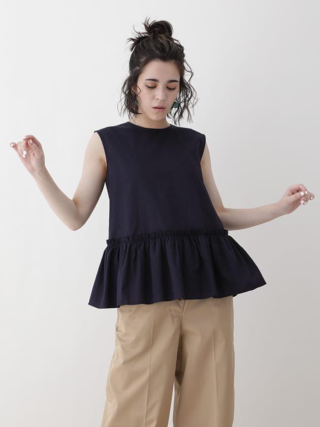 【シャツブラウス】ペプラムデザイン パナマ織りジャカード
