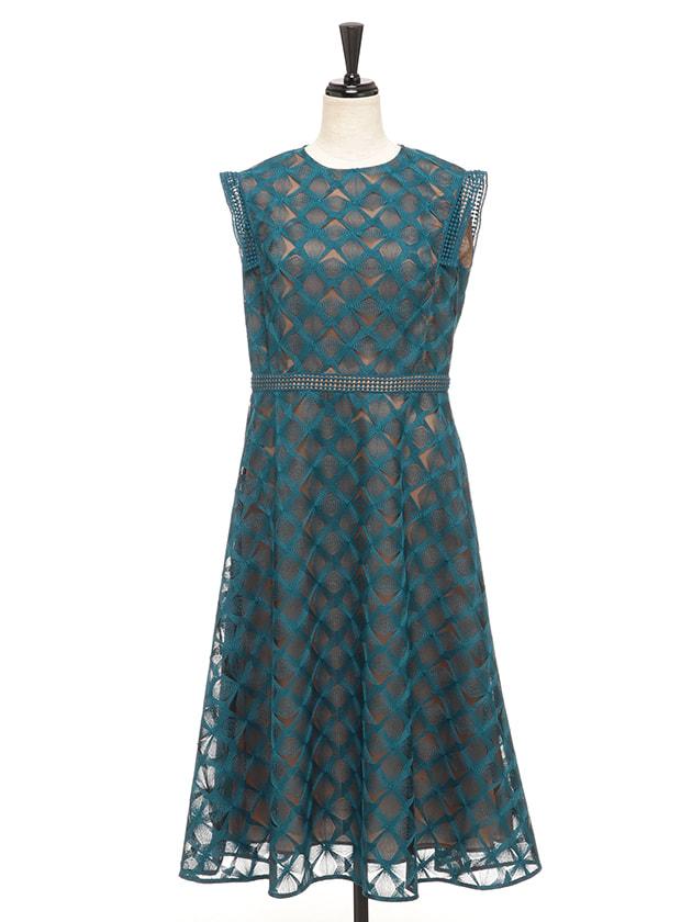 幾何柄レースドレス