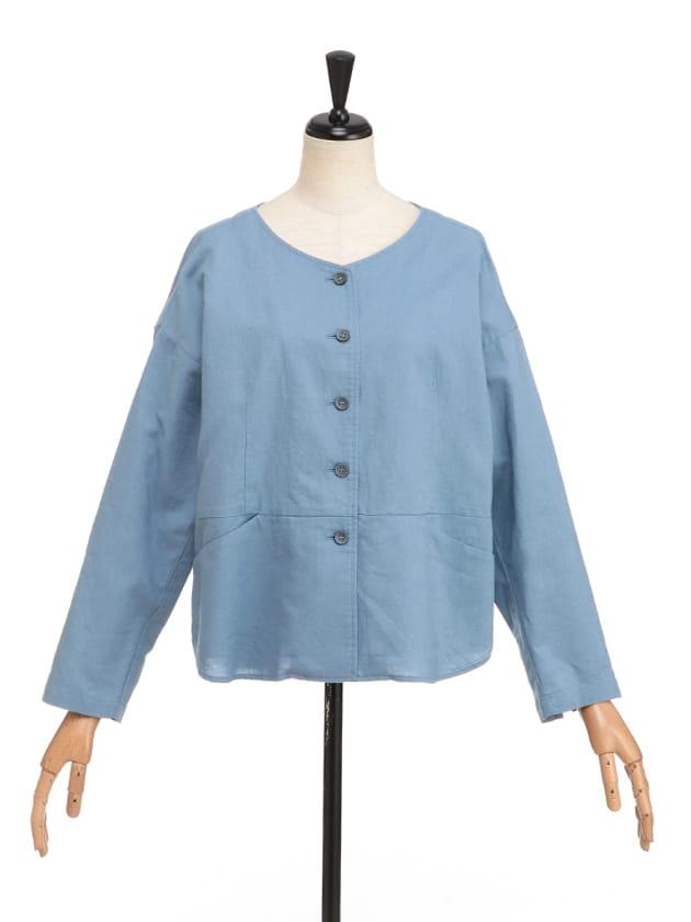 ノーカラー綿麻ライトジャケット