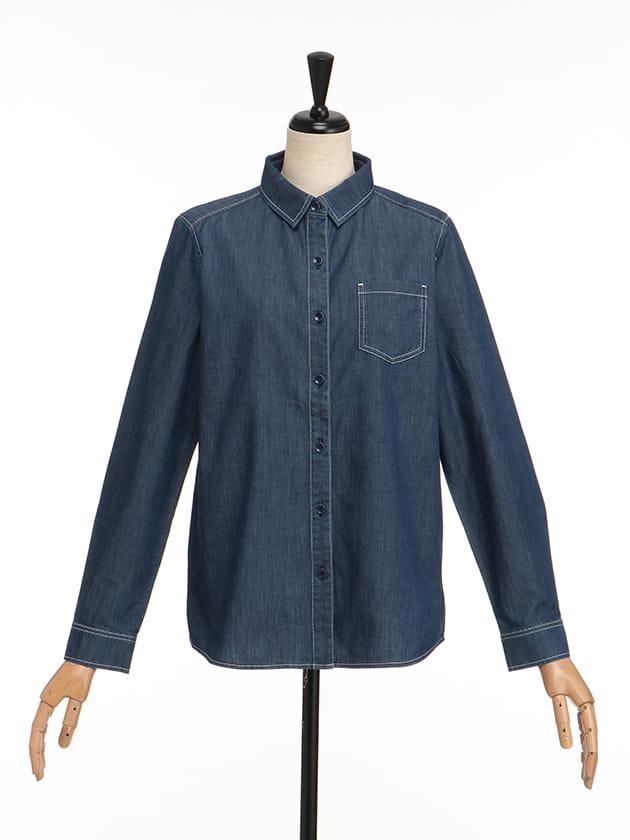 【シンプルライフ】【SUSTAINABLE CLOSET】コットンダンガリーシャツ