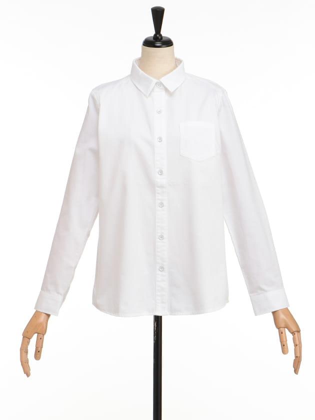 【シンプルライフ】【SUSTAINABLE CLOSET】コットンホワイトシャツ