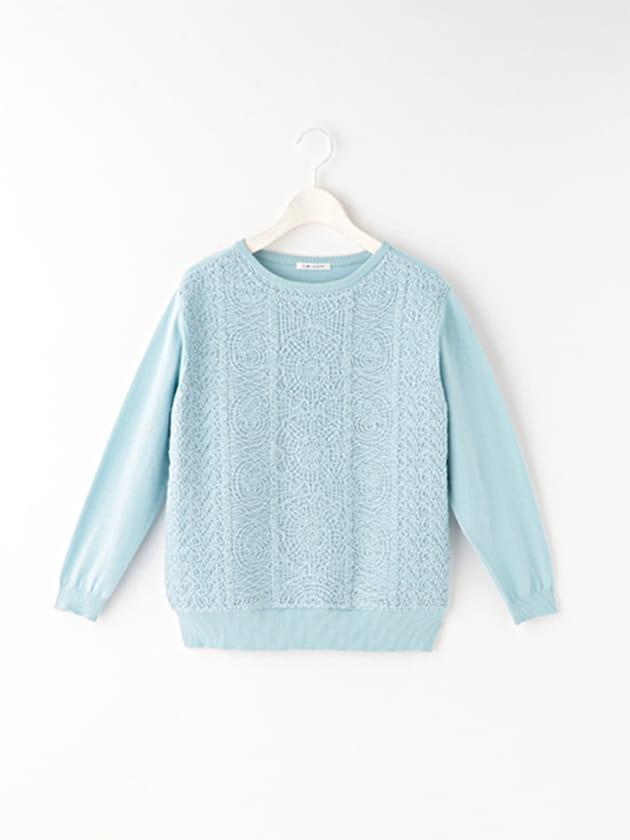 【シンプルライフ】綿混コード刺繍ニット