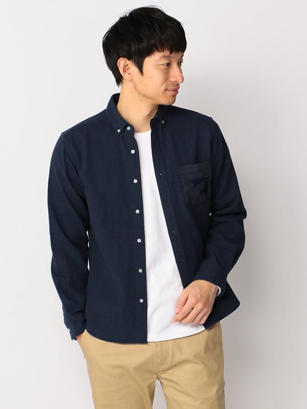 ポケット傘刺繍ライトコーデュロイシャツ