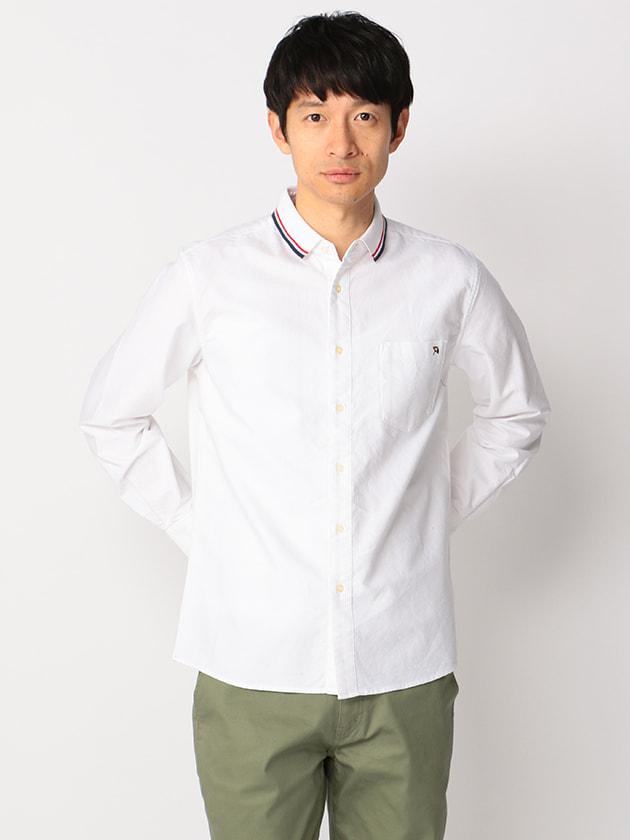 ポロ衿異素材コンビシャツ