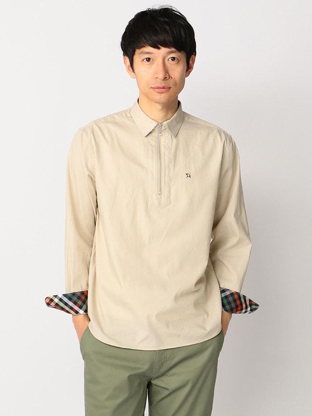 【WEB・一部店舗限定】ハウスチェック使いハーフジップ長袖ツイルシャツ