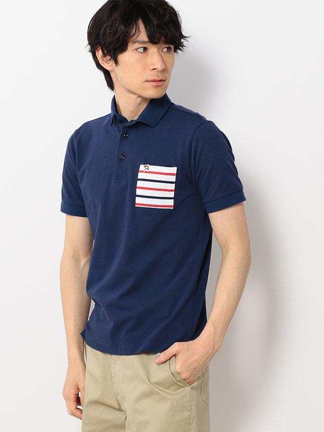 【吸水速乾】ボーダーポケットポロシャツ(Men's)
