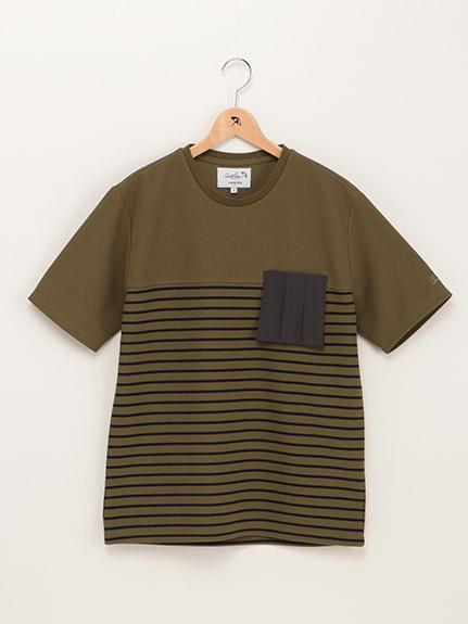 【親子お揃い】バスクボーダー異素材コンビTシャツ(Men's)