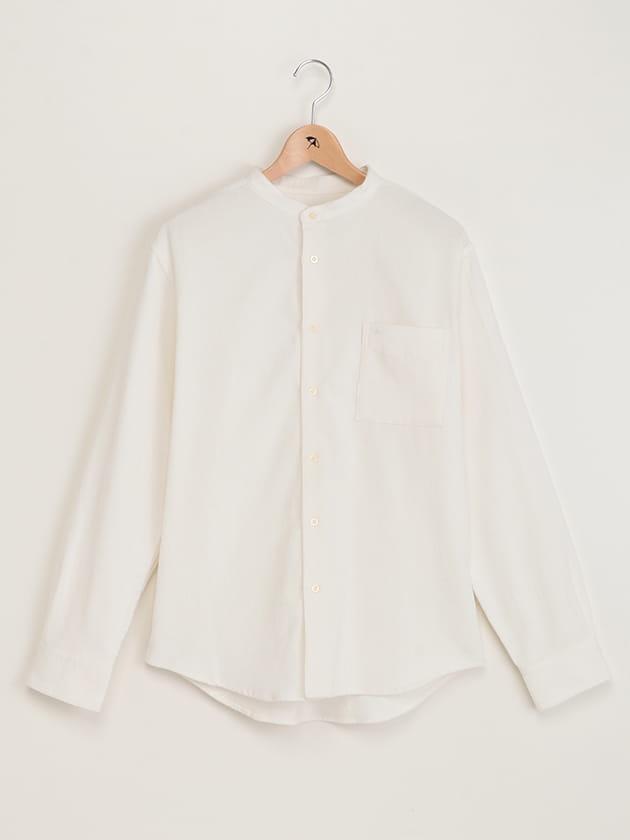 ホワイトベーシックノーカラーシャツ