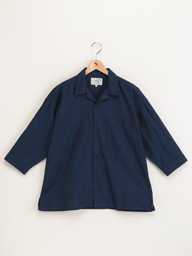 ビッグシルエット7分袖オープンカラーシャツ