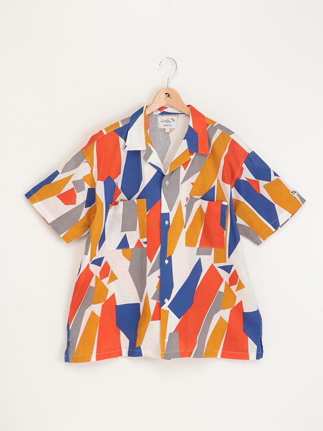 コットンリネン幾何柄プリントオープンカラーシャツ