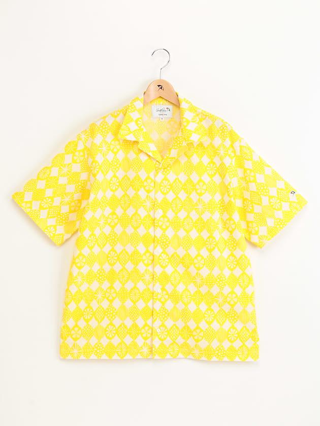 レモンプリントオープンカラー半袖シャツ