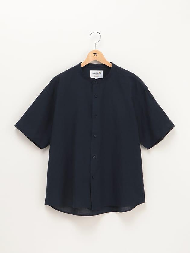 コットンリネンビッグノーカラーシャツ