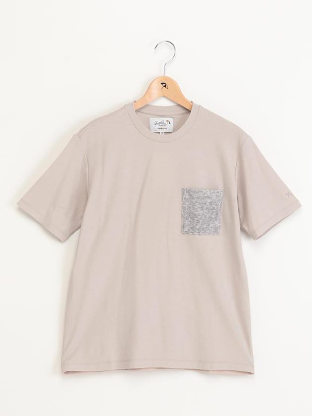 ポケット付きクルーネック梨地Tシャツ