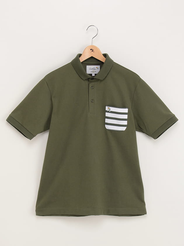 吸水速乾機能付きポケットボーダーポロシャツ