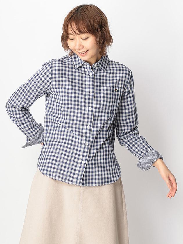 ダブルガーゼギンガムチェックシャツ(Ladies')